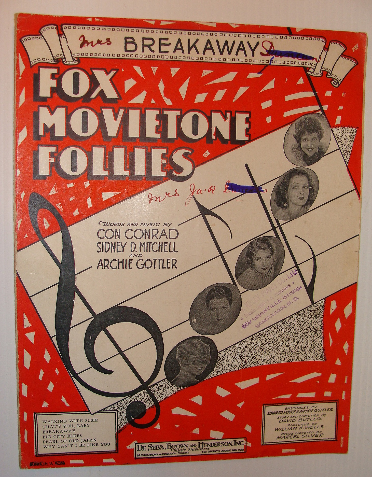 Image for Breakaway - Sheet Music for the Song from Fox Movietown Follies of 1929