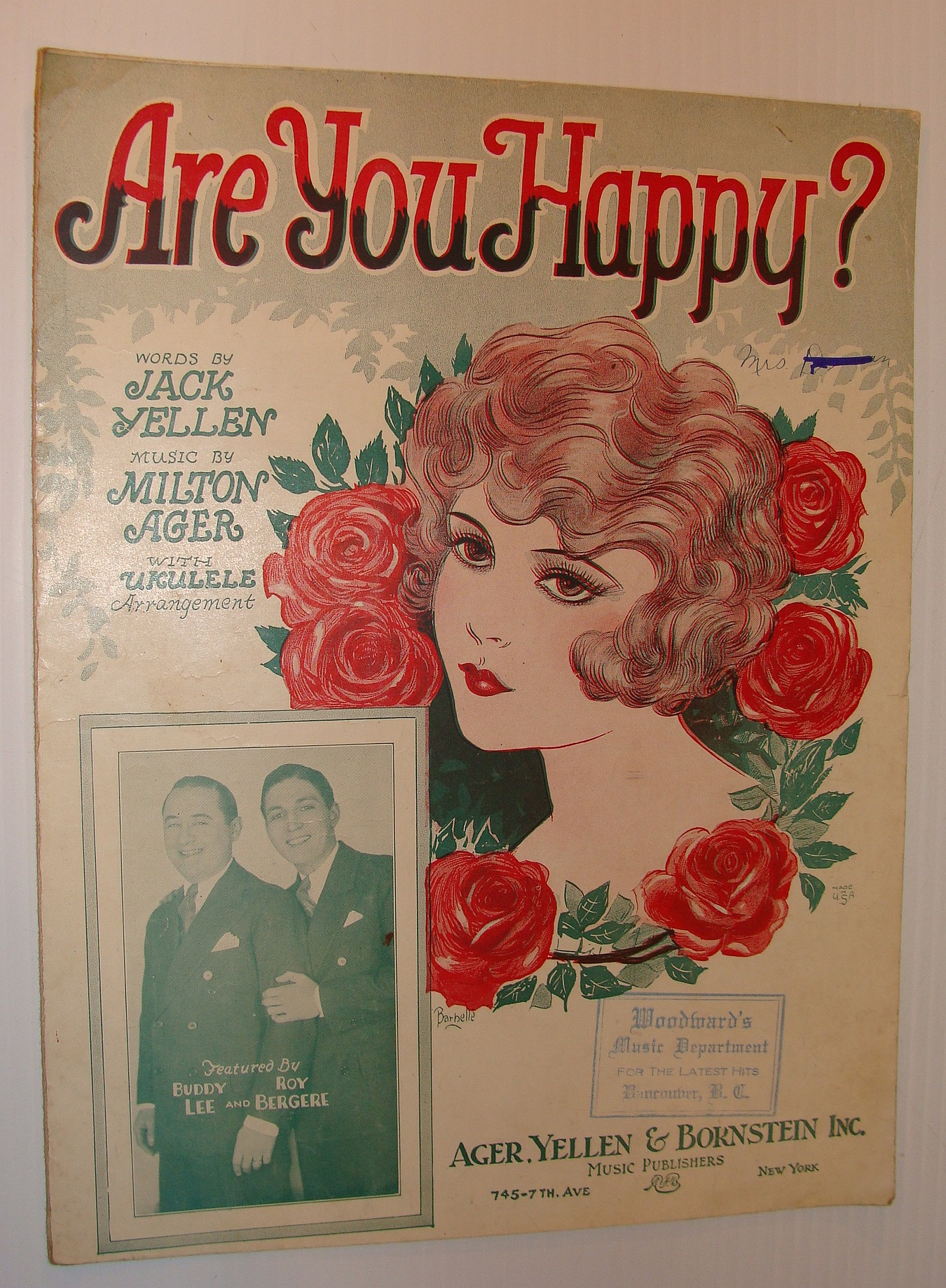 Image for Are You Happy? - Sheet Music with for Vocal and Piano Plus Ukulele Arrangement
