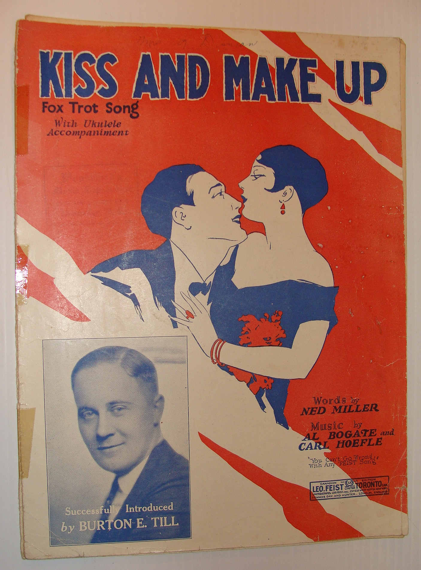 Image for Kiss and Make-Up - Fox Trot Song with Ukulele Accompaniment: Sheet Music