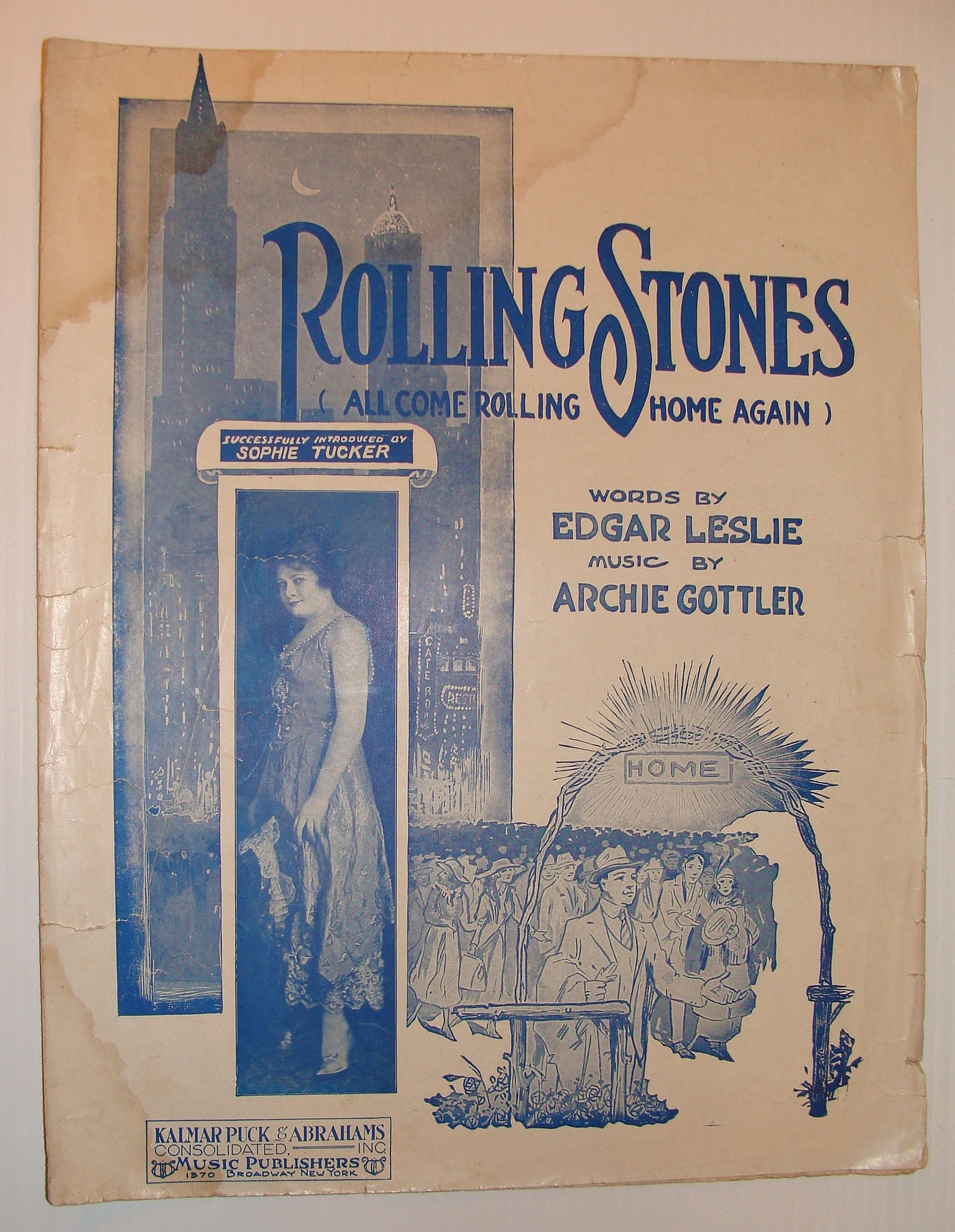 Image for Rolling Stones (All Come Rolling Home Again) - Sheet Music with Cover Photo of Sophie Tucker