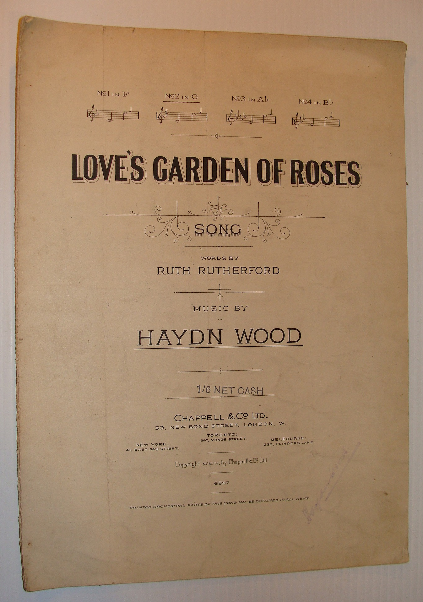 Image for Love's Garden of Roses: Sheet Music for Voice and Piano