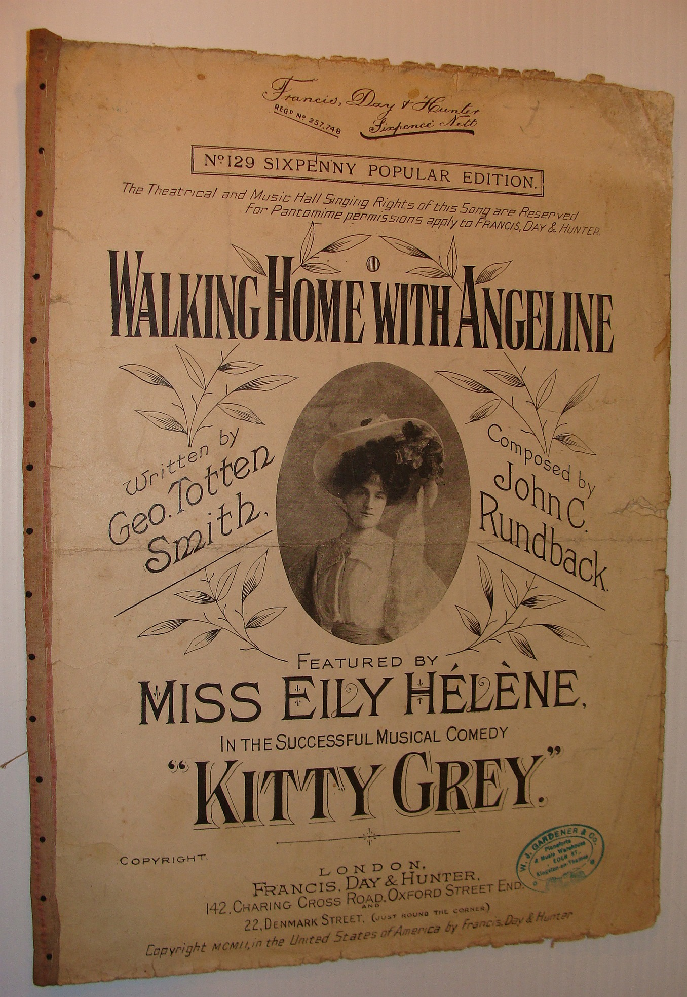 Image for Walking Home With Angeline: Sheet Music for Voice and Piano - Featured By Miss Eily Helene in the Successful Musical Comedy Kitty Grey