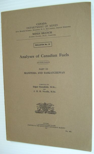 Image for Analyses of Canadian Fuels: Part III - Manitoba and Saskatchewan - Bulletin No. 24
