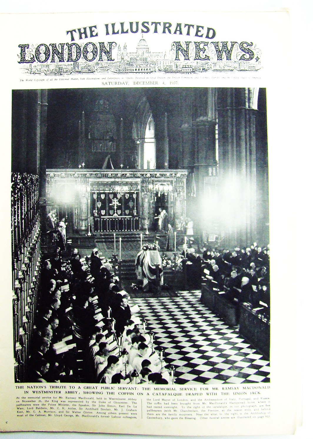 Image for The Illustrated London News, Saturday, December [Dec.] 4,1937 - Ramsay MacDonald Memorial