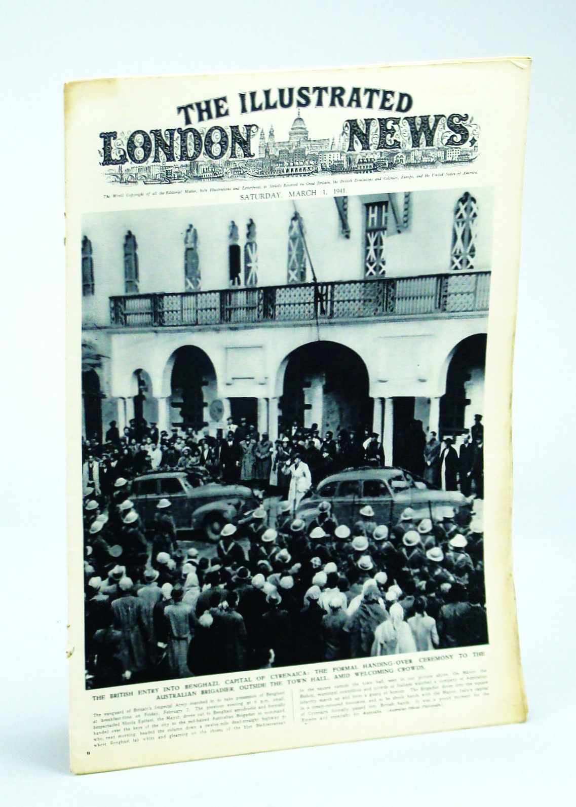 Image for The Illustrated London News, Saturday, March [Mar.] 1, 1941 - The Occupation of Benghazi