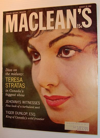 Image for Maclean's Magazine, August 25, 1962 - Teresa Stratas Cover Photo