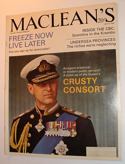 Image for Maclean's Magazine, April 2, 1966 *COVER PHOTO OF PRINCE PHILLIP - THE CRUSTY CONSORT*