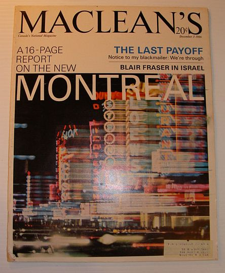 Image for Maclean's Magazine, 3 December 1966 *MONTREAL - 16 PAGE REPORT*