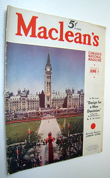 Image for Maclean's - Canada's National Magazine, 1 June, 1940 - The Rowell-Sirois Report