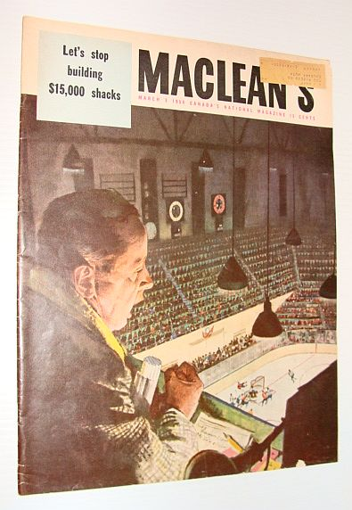 Image for Maclean's Magazine, 3 March 1956 *FOSTER HEWITT/MAPLE LEAF GARDENS COVER ILLUSTRATION*