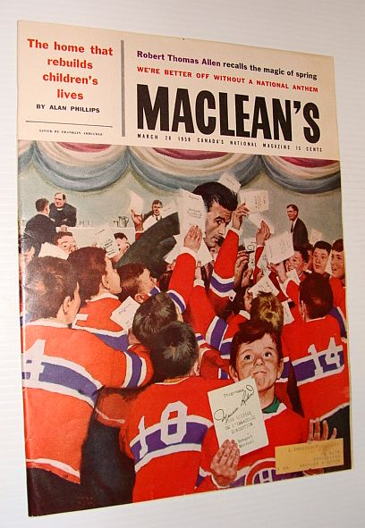 "Image for Maclean's Magazine, 28 March 1959 *COVER ILLUSTRATION OF MAURICE ""ROCKET"" RICHARD BEING MOBBED*"