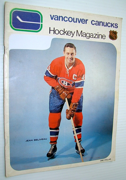 Image for Vancouver Canucks Hockey Magazine, December 18, 1970, Vol 1 No. 16 - Jean Beliveau Cover Photo