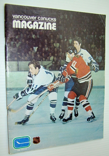 Image for Vancouver Canucks Hockey Magazine, October 17, 1972, Vol 3 No. 5 - Great Colour Cover Photo of Wayne Maki and Orland Kurtenbach Battling Stan Mikita