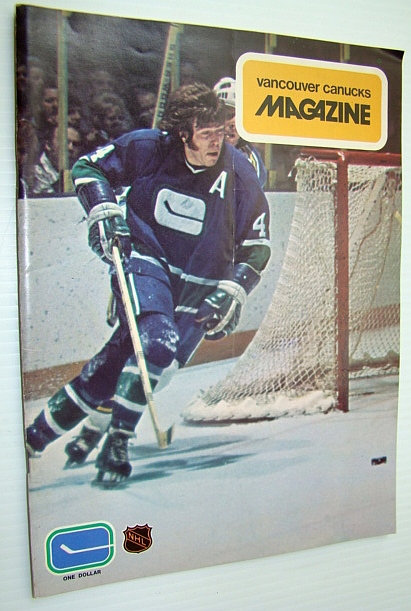 Image for Vancouver Canucks Magazine, September 25, 1973 - Great Colour Photo of Barry Wilkins Coming Around His Net