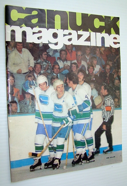Image for Vancouver Canuck Magazine, October 25, 1974 - Colour Cover Photo of Canuck Goal Celebration with Barry Wilkins and Three Teammates