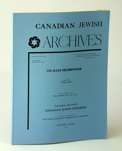 Image for Canadian Jewish Archives, New Series, Number 11 (Eleven), On Jules Helbronner