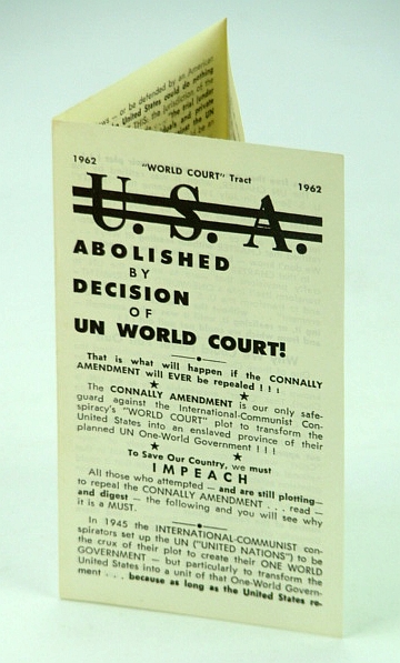 "Image for U.S.A. (United States) Abolished By Decision of UN (United Nations) World Court: ""World Court"" Tract 1962"