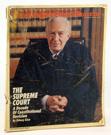 Image for The New York Times Magazine, November (Nov.) 11, 1979 - Cover Photo of Supreme Court Chief Justice Warren E. Burger