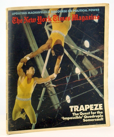 Image for The New York Times Magazine, March (Mar.) 19, 1978  -  Ringling Brothers' Circus Aerialist Tito Gaona Cover Photo