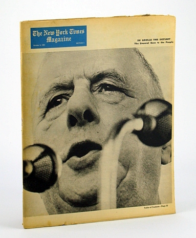 Image for The New York Times Magazine, October (Oct.) 6, 1963 -  Charles De Gaulle Cover Photo