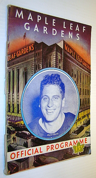Image for Maple Leaf Gardens Official Programme, December 30, 1944, Toronto Maple Leafs Vs. Chicago Black Hawks - Elwyn Morris Cover Photo / Coke Ad with Swastika / Turk Broda in the Military