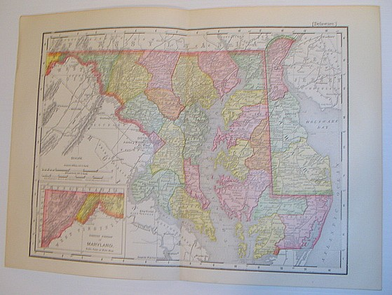 Image for 1901 Colour Map of the States of Maryland and Delaware and Vicinity