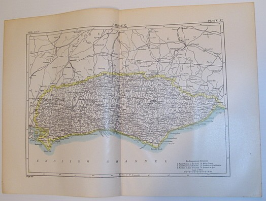 Image for Map of Sussex, England - Circa 1902