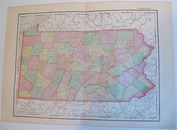 Image for Rand, McNally and Co.'s 1895 Colour Map of the State of Pennsylvania