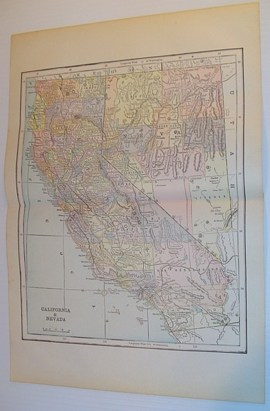 Image for Colour Map of California and Nevada - Circa 1902