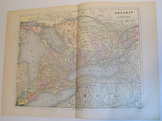 Image for Colour Map of the Province of Ontario, Canada - Circa 1902