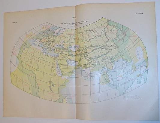 Image for Ptolemy's Map of the World - Compared with the Actual positions, After H. Kiepert