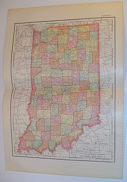 Image for Rand, McNally & Co.'s 1901 State Map of Indiana - In Colour