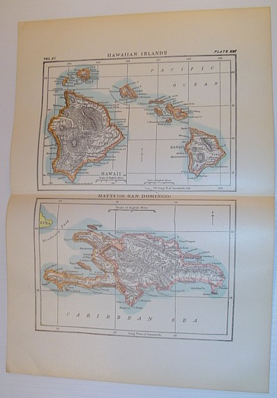 "Image for ""Hawaiian Islands and Hayti (or San Domingo)"" - 2 Map Plates in Colour Circa 1902"