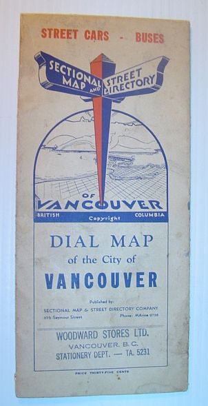 Image for Dial Map of Greater Vancouver, British Columbia - Street Cars, Buses / Map of Burnaby - New Westminster and Parts of Adjacent Municipalities (including Surrey) Circa 1950