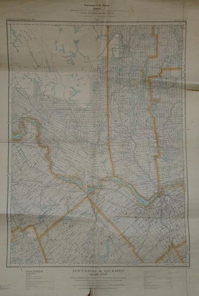 Image for Ontario & Quebec: Ottawa (Map) Sheet - Portions of Carleton, Renfrew, Lanark, Dundas, Grenville and Frontenac Counties, Ontario, and of Pontiac, Hull, Labelle and Papineau Counties, Quebec