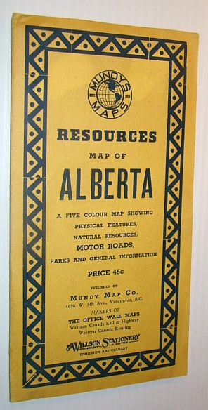Image for Resources Map of Alberta: A Five Colour Map Showing Physical Features, Natural Resources, Motor Roads, Parks and General Information - Series No. 8