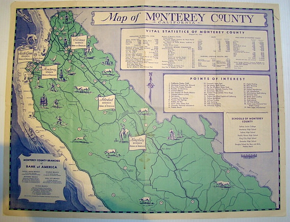Image for Map of Monterey County, California Circa 1937