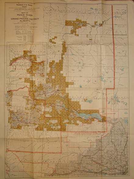 Image for Map of Peace River and Grand Prairie District, Alberta, January 1929 - Homesteading Map