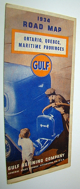 Image for Official Gulf 1934 Road Map of Ontario, Quebec, Maritime Provinces