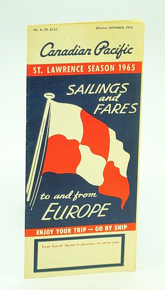Image for Canadian Pacific Sailings and Fares To and From Europe - St. Lawrence Season 1965