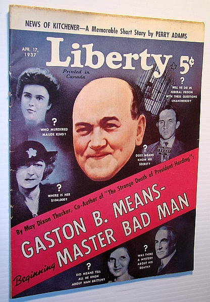 Image for Liberty Magazine (Canadian Edition) April 17, 1937 - Cover Illustration of Gaston B. Means / Bojangles of Harlem