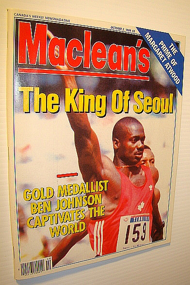 "Image for Maclean's - Canada's Weekly Newsmagazine, October 3, 1988: Cover Photo of Ben Johnson, ""The King of Seoul""/The Prime of Margaret Atwood"