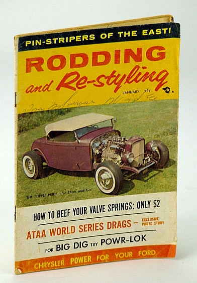 Image for Rodding and Re-styling Magazine, January (Jan.) 1958, Volume 4, Number 11 - Cover Photo of Purple Pride, Belonging to Fred Steele