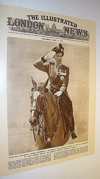 Image for The Illustrated London News (ILN), June 14, 1952 - Cover Photo of Queen on Horseback Inspecting Foot Guards
