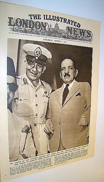 Image for The Illustrated London News (ILN), August 2, 1952 -  Cover Photo of Major-General Neguib Mohammed with Aly Maher Pasha - Who Compelled Egypt's King Farouk to Adbicate