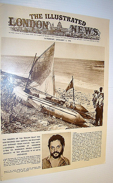 Image for The Illustrated London News (ILN), January 3, 1953 -  Cover Photo of Solo Sailor Dr. Alain Bombard  / The Champollion Disaster
