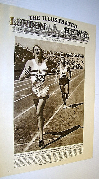 "Image for The Illustrated London News (ILN) Magazine, August 14, 1954 - Cover Photo of ""The Greatest Mile Race Ever Run"" - Roger Bannister and J.M. Landy in Vancouver"
