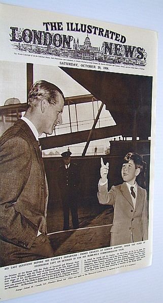 Image for The Illustrated London (ILN) News, October 20, 1956 - Cover Photo of Prince Charles with His Father / Motor Show Number