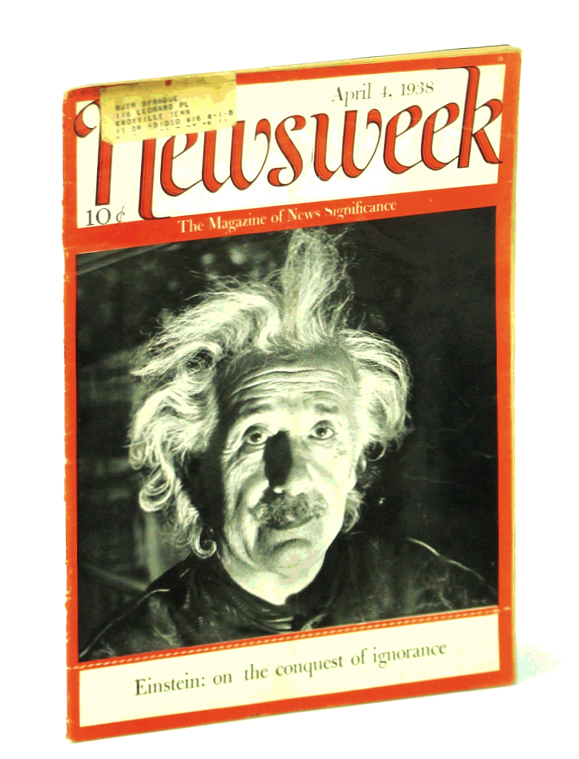 Image for Newsweek Magazine, April 4, 1938 - Albert Einstein Cover Photo and Feature Article