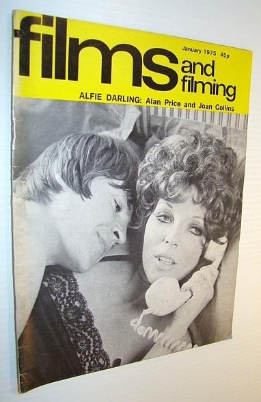 Image for Films and Filming Magazine, January 1975 - Cover Photo of Allan Price and Joan Collins in 'Alfie Darling'